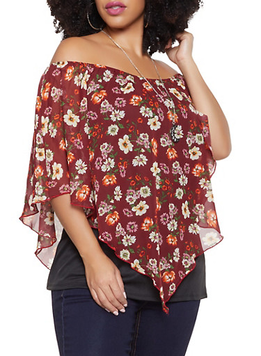 Plus Size Floral Overlay Off the Shoulder Top with Necklace,WINE,large