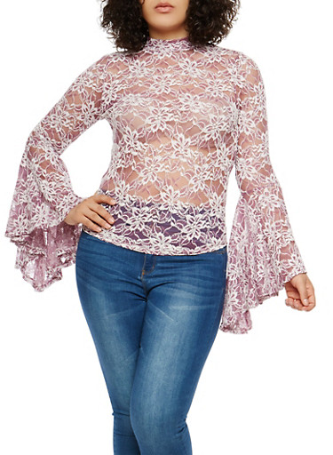 Plus Size Lace Bell Sleeve Top,BLUSH,large