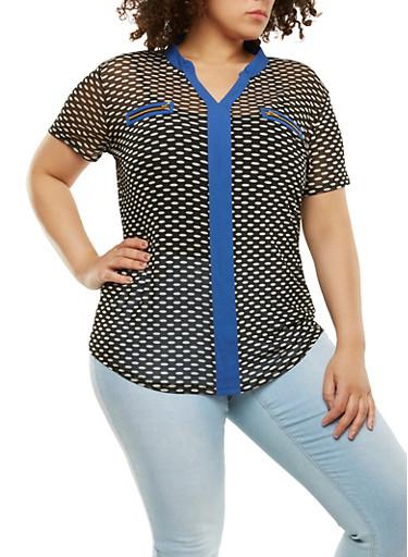 Plus Size Printed Zipper Detail Top,BLACK/BLUE,large