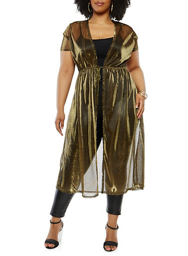 Plus Size Shimmer Knit Duster,GOLD,large