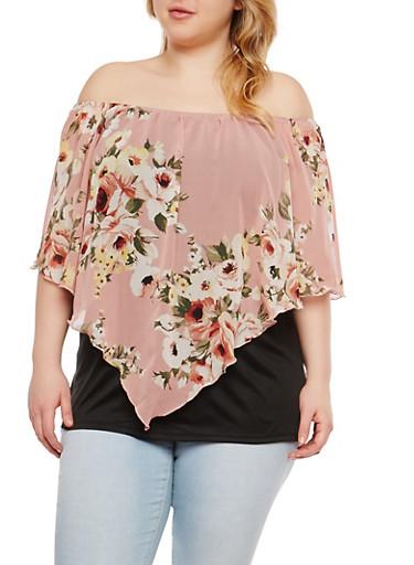 Plus Size Floral Off the Shoulder Top,PINK,large