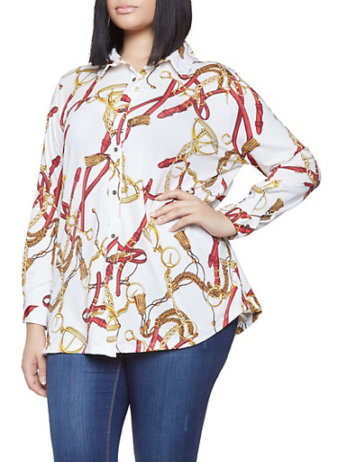 Plus Size Printed Button Front Shirt,WHITE,large