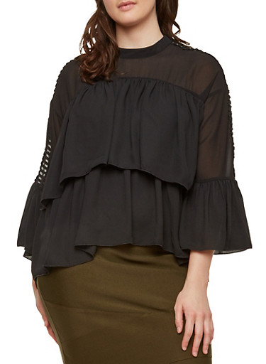 Plus Size Crochet Caged Sleeve Tiered Top,BLACK,large