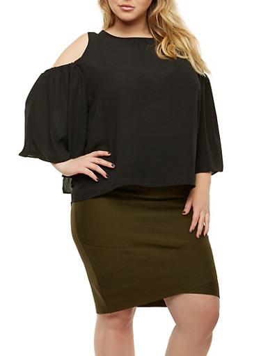 Plus Size Cold Shoulder Tie Back Top,BLACK,large