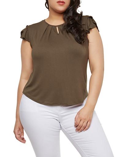 Plus Size Flutter Sleeve Top,OLIVE,large