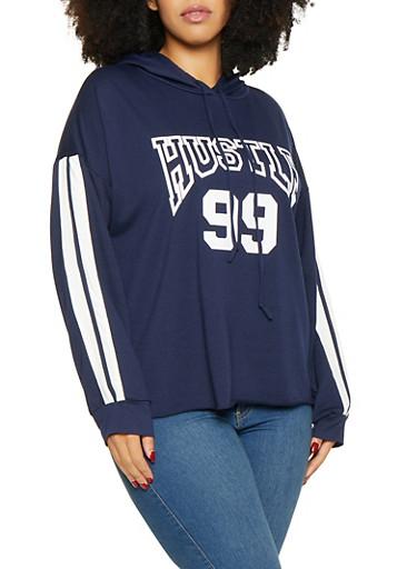 Plus Size Hustle Graphic Sweatshirt,NAVY,large