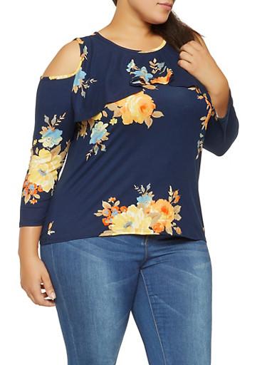 Plus Size Floral Cold Shoulder Top,NAVY,large