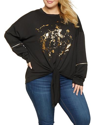 Plus Size Foil Graphic Sweatshirt,BLACK,large