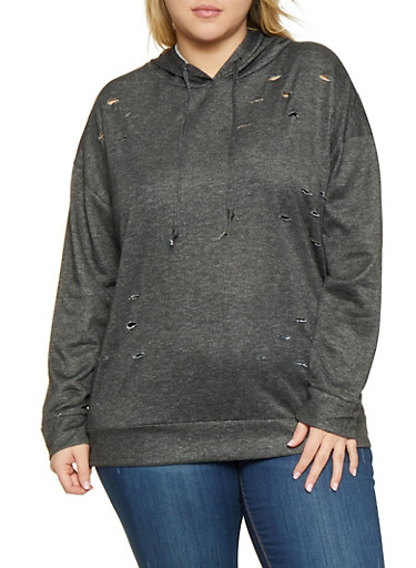Plus Size Distressed Sweatshirt,BLACK,large