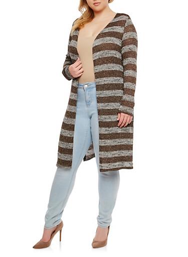 Plus Size Long Knit Cardigan,BROWN,large