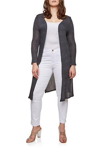 Plus Size Knit Long Cardigan,BLACK,large