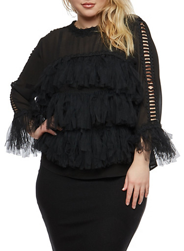 Plus Size Crochet Caged Sleeve Mesh Top,BLACK,large