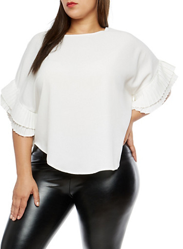 Plus Size Tiered Sleeve Top,WHITE,large