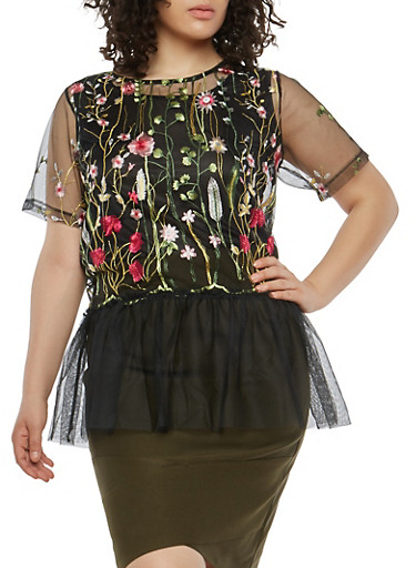 Plus Size Mesh Embroidered Top,BLACK,large