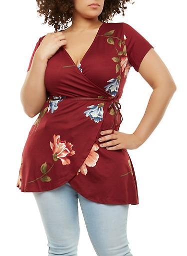 Plus Size Floral Faux Wrap Top,BURGUNDY,large