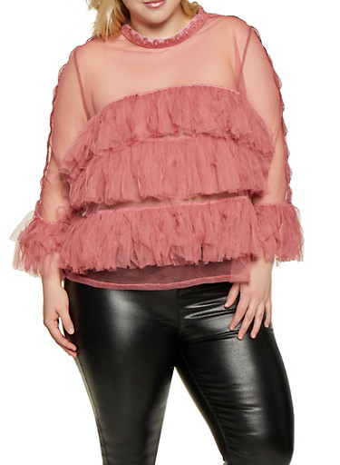 Plus Size Tiered Ruffle Top,PINK,large