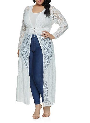 Plus Size Lace 3 Button Maxi Top,WHITE,large