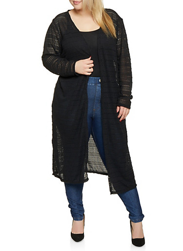 Plus Size Patterned Crochet Duster,BLACK,large
