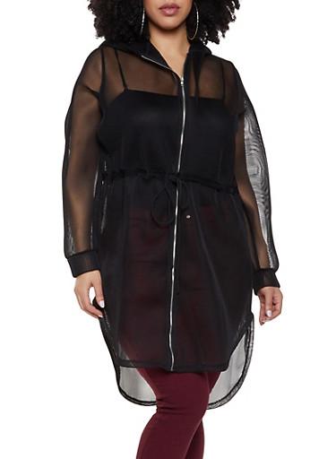Plus Size Drawstring Mesh Hooded Jacket,BLACK,large