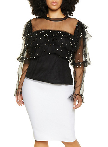 Plus Size Faux Pearl Tiered Mesh Top,BLACK,large