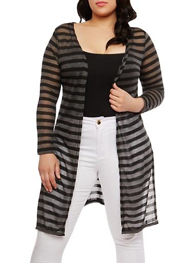 Plus Size Long Striped Cardigan,BLACK,large