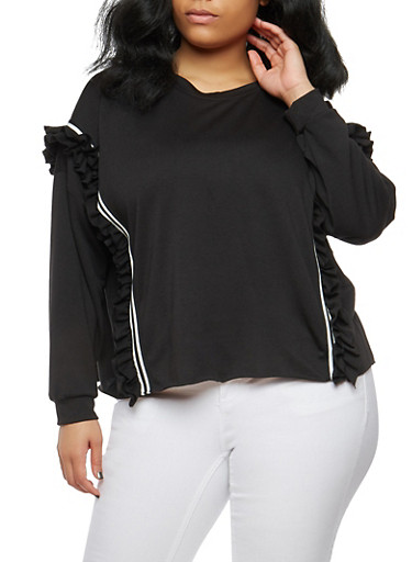 Plus Size Ruffle Band Trim Sweatshirt,BLACK,large
