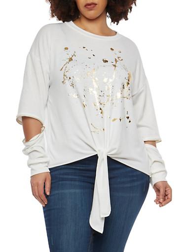 Plus Size Graphic Zip Elbow Sweatshirt,IVORY,large