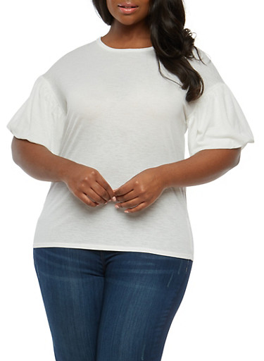Plus Size Crepe Knit Bubble Sleeve Top,IVORY,large