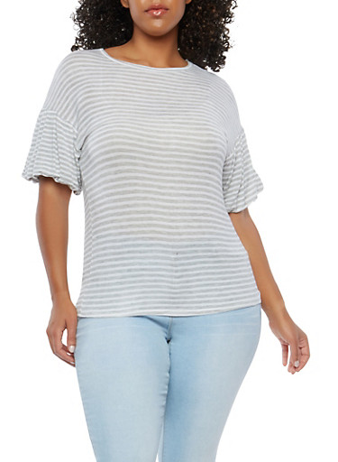 Plus Size Striped Knit Top,BLACK/HEATHER,large