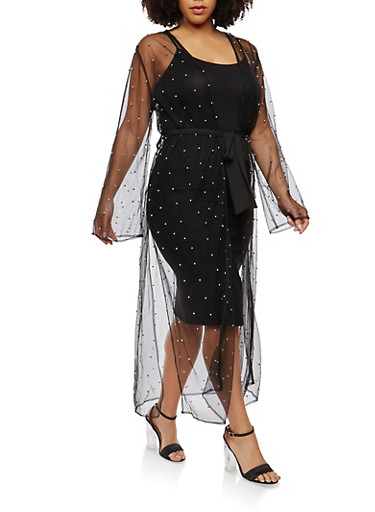 Plus Size Studded Mesh Duster,BLACK,large