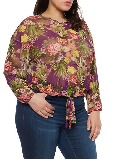 Plus Size Floral Mesh Tie Front Top,PLUM,large