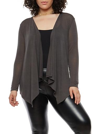 Plus Size Knit Cardigan,GRAY,large