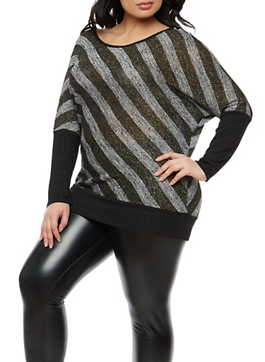 Plus Size Shimmer Knit Striped Top,BLACK-GREY COMBO,large