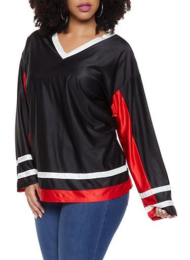 Plus Size Varsity Stripe Athletic Jersey,BLACK,large