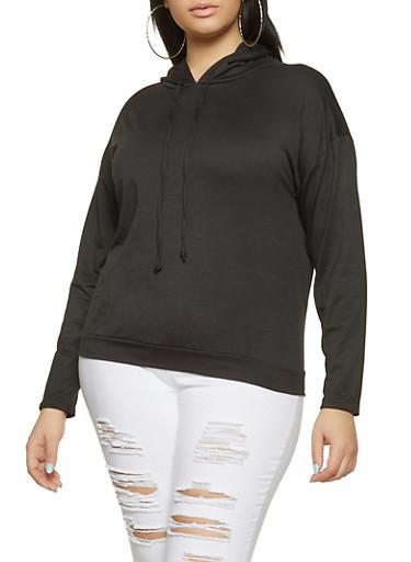 Plus Size Faux Pearl Hooded Sweatshirt,BLACK,large