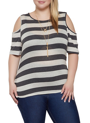 Plus Size Cold Shoulder Striped Tee with Necklace,CHARCOAL,large