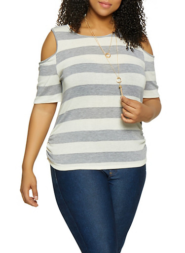 Plus Size Striped Cold Shoulder Top with Necklace | 1912074284144,HEATHER,large