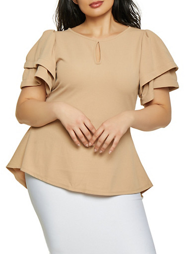 Plus Size Textured Tier Sleeve High Low Top,MOCHA,large