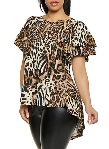 Plus Size Tiered Sleeve Animal Print Top by Rainbow