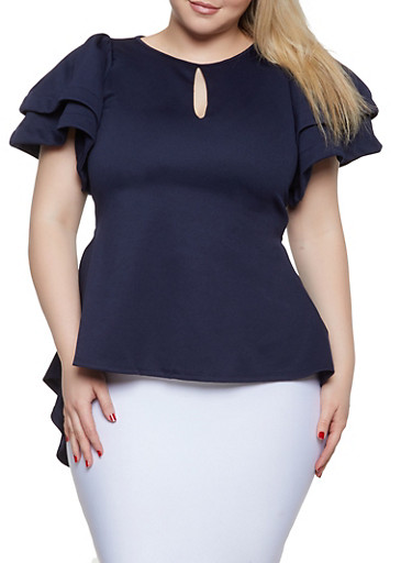 Plus Size Solid Tiered Sleeve High Low Top,NAVY,large