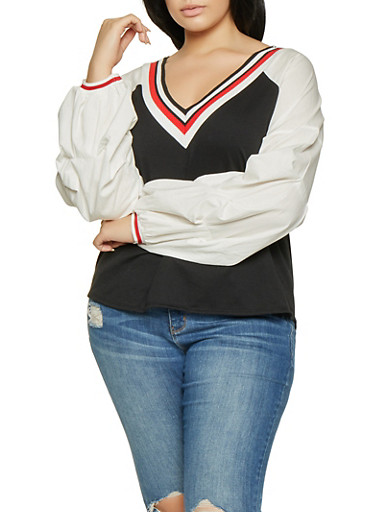 Plus Size Striped Tape Trim Top,BLACK,large