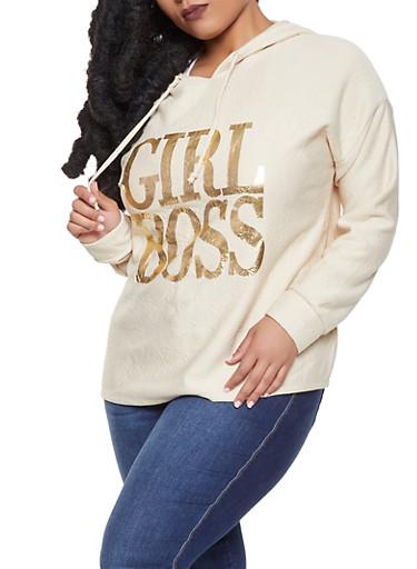 Plus Size Hooded Foil Graphic Sweatshirt,BEIGE,large