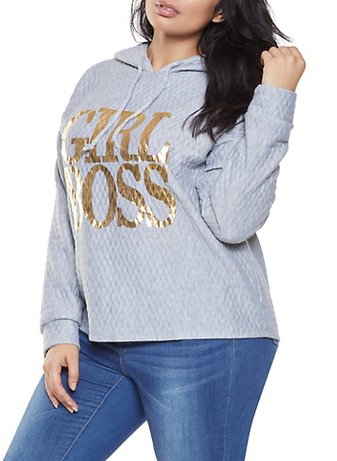 Plus Size Graphic Quilted Sweatshirt,GRAY,large