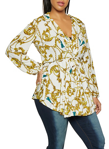 Plus Size Printed Plunge Tunic Top,WHITE,large