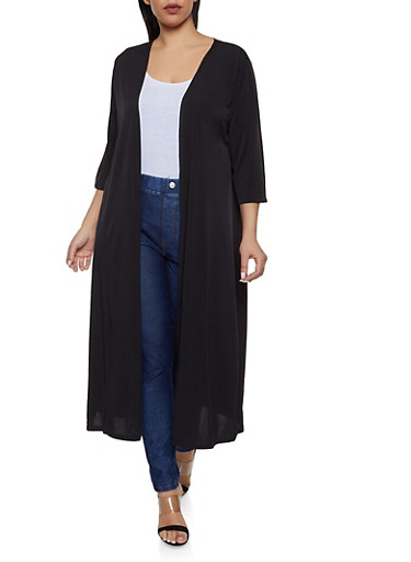 Plus Size Solid Duster   1912074287226,BLACK,large