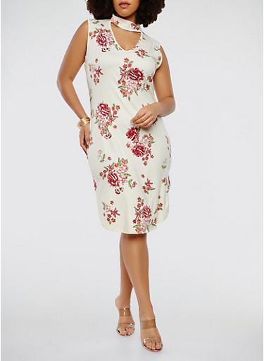 Plus Size Choker Neck Tank Dress,WHITE,large