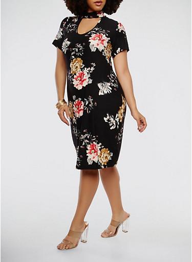 Plus Size Floral Short Sleeve Choker Neck Dress | Tuggl