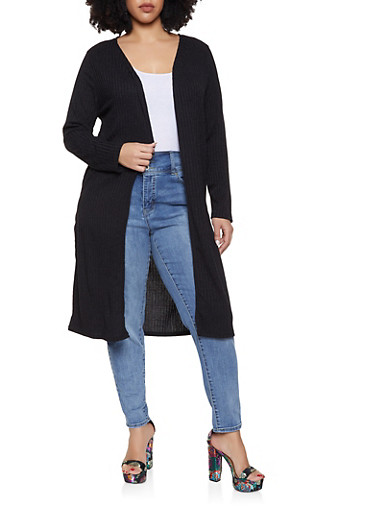 Plus Size Ribbed Knit Duster   Black,BLACK,large