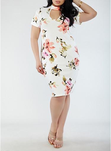 Plus Size Soft Knit Short Sleeve Choker Neck Dress,IVORY,large