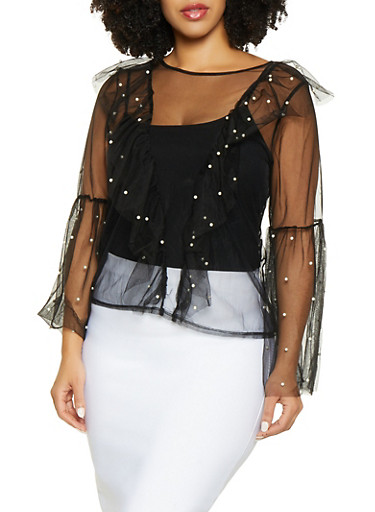 Plus Size Ruffled Faux Pearl Tulle Top,BLACK,large